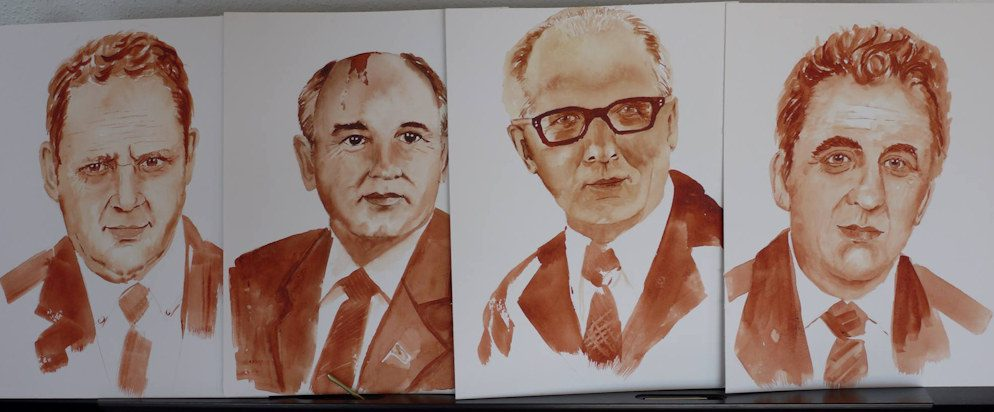 Gorbatschov, Honecker und Krenz - Portraits in Aquarell