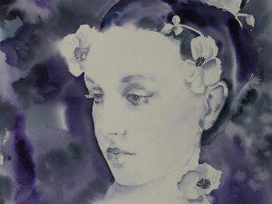 Aquarell-Portrait, Mädchen mit Anemonen