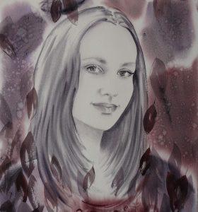 Aquarellportrait Dream Mädchen Bordeaux vollständig
