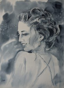 Aquarell Portrait junge Frau Abend