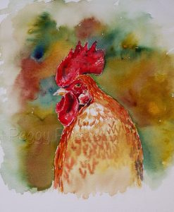 Aquarell roter Hahn, Tiere