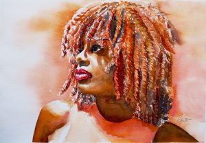 Aquarell Portrait junge, schwarze Frau Dreadlocks orange
