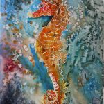 Aquarell oranges Seepferdchen, Tiere