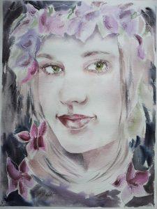 Aquarell Portrait Mädchen Blumen im Haar