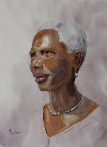 Aquarell-Portrait schwarze Frau
