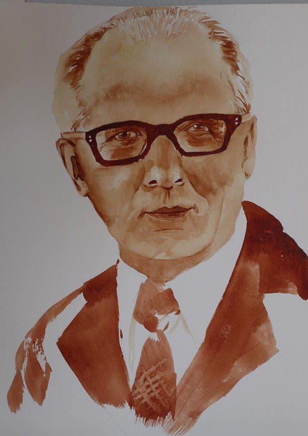 Erich Honecker in 'Sienna gebrannt' mit etwas 'Quinacridone Gold'