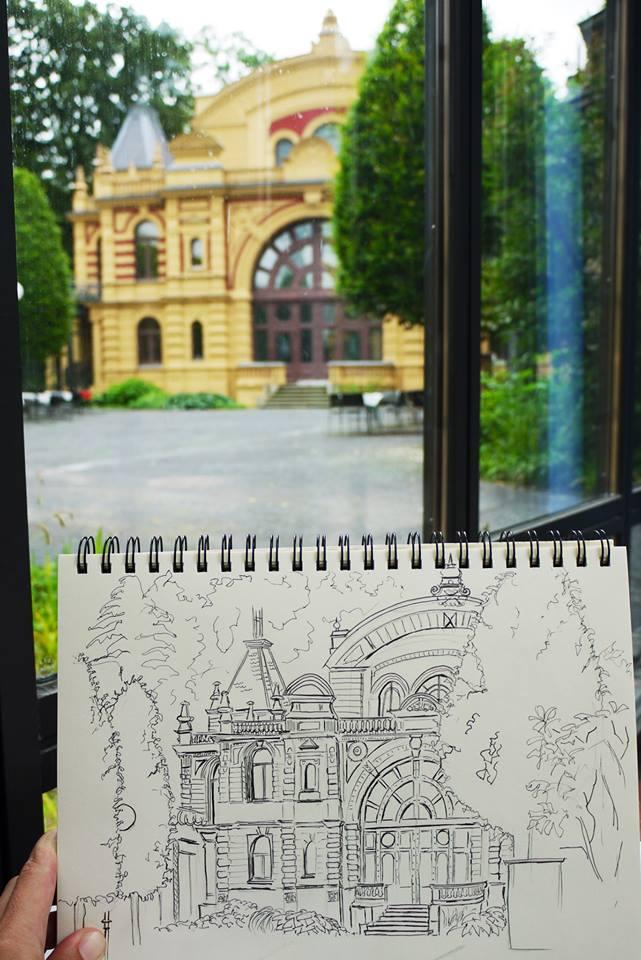 Urban Sketcher Treffen am Kurhaus Göggingen