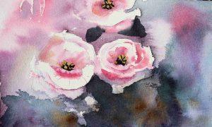 Aquarell mit Busch-Rosen auf Hahnemühle Leonardo rauh