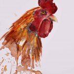 Aquarell mit orangem Hahn auf Hahnemühle Leonardo satiniert