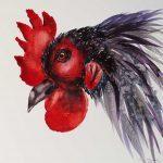 Aquarell mit schwarzem Hahn auf Hahnemühle Leonardo satiniert