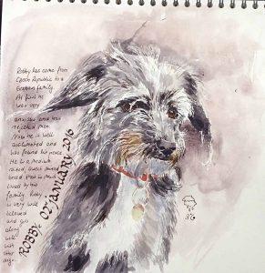 Der Hund Robby - Aquarell in Skizzenblock Doreé