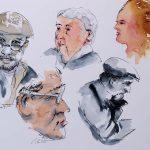 Aquarell und Tusche: Portraitskizzen auf Leonardo satiniert