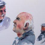 Aquarell und Tusche: Portraitskizzen Männer auf Leonardo satiniert