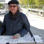Urban Sketchers Augsburg: Daniel auf dem Balkon von K&L Ruppert
