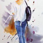 Mädchen mit Jeans und weißem T-Shirt