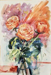 3 lachsfarbene Rosen als Aquarell