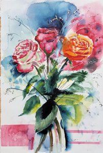 expressives Rosenaquarell mit einfach Glasvase