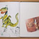 Urmel aus dem Eis - ein Aquarell im Skizzenbuch