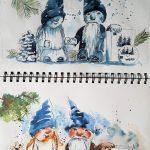 Wichtelentwürfe im Skizzenbuch