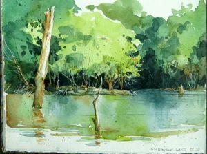 Eine Skizze von einem See mit Bäumen im Hintergrund, gemalt von Cathy Johnson