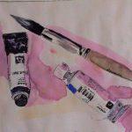 Farbtuben und Pinsel als Skizze