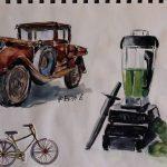 Ein Oldtimer und ein Mixer gezeichnet, das Fahrrad ist aufgeklebt.