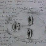 Mitschriften während eines Workshops über eine vorherige Portraitskizze hinweg.