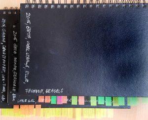 Skizzenbücher, beschriftet und mit Label, um Inhalte wiederzufinden
