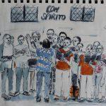 Musik und Kunst, immer noch schöner zusammen. Ein Urban Sketch vom Chor Con Spirito auf dem Philippine-Welser-Platz