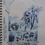 Urban Sketch im Schätzlergarten während der Augsburger Sommernächte mit Tinte