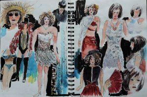 Urban Sketchen während der Travestieshow Madame Divot
