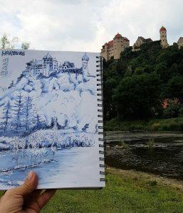 Die Harburg gezeichnet mit Tinte von Lamy. Eine Herausforderung, Wasser, Wald und eine Burg auf einer Seite unter zu bringen.