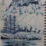 Urban Sketch mit blauer Tinte von der Harburg und Wörnitz
