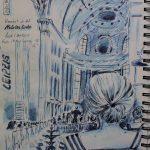 Urban Sketch mit Tinte, Bachkonzert in der Nikolaikirche