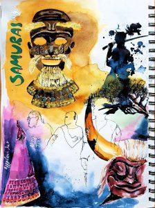 Masken und Ausrüstung der Samurai im Skizzenbuch