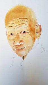 Unfertiges Aquarell mit Portrait von einem alten Mann in Thailand