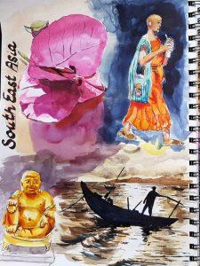 Reiseaquarelle im Skizzenbuch, hier Südostasien mit Bougainvillea, einem goldenen Buddha, einem buddhistischem Mönch und einem Fischer im südchinesischem Meer