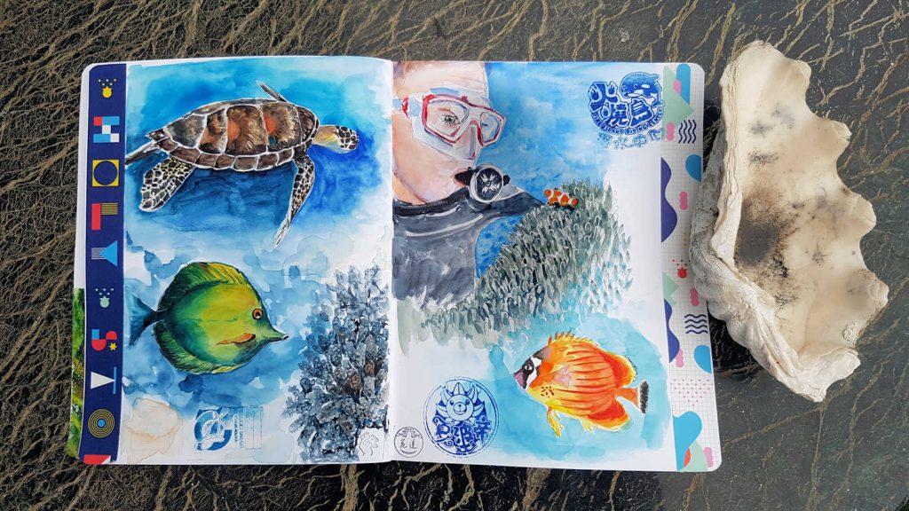 ReiseAquarelle im Skizzenbuch, Tauchen mit Schildkröten, Korallen und Fischen
