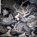 Deckenzeichnung im Zen-Tempel Kennin-ji Kyoto