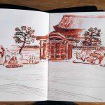 Skizzenbuch mit Zeichnung Kennin-ji Kyoto