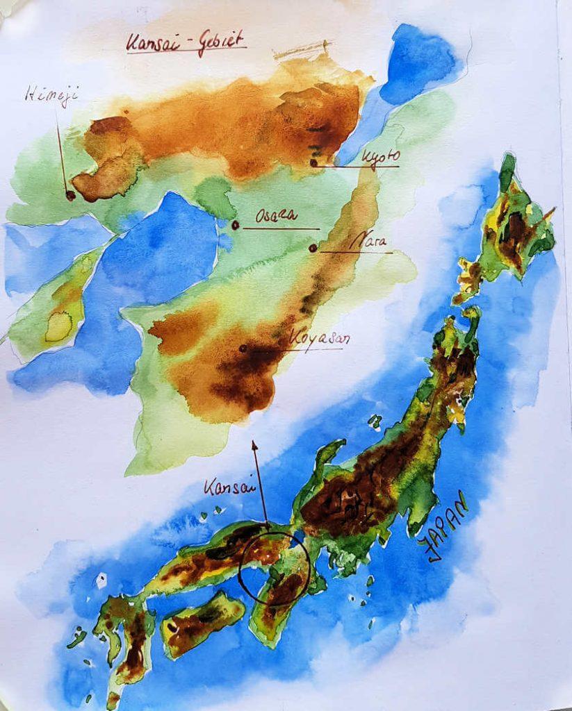 Aquarellskizze vom Kansai-Gebiet in Japan